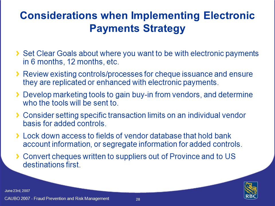 Considerations when Implementing Electronic Payments Strategy