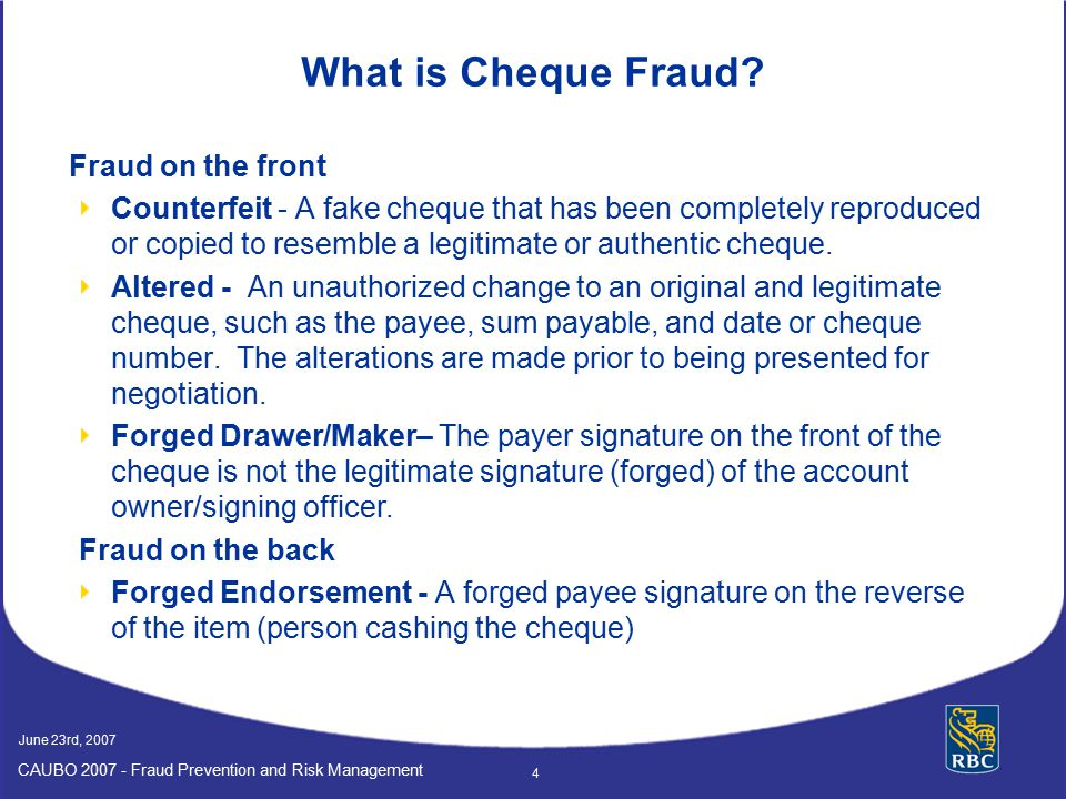 What is Cheque Fraud Fraud on the front