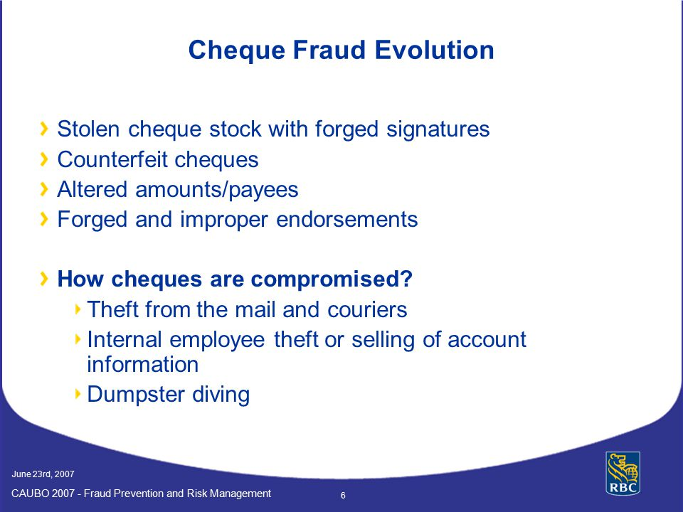 Cheque Fraud Evolution