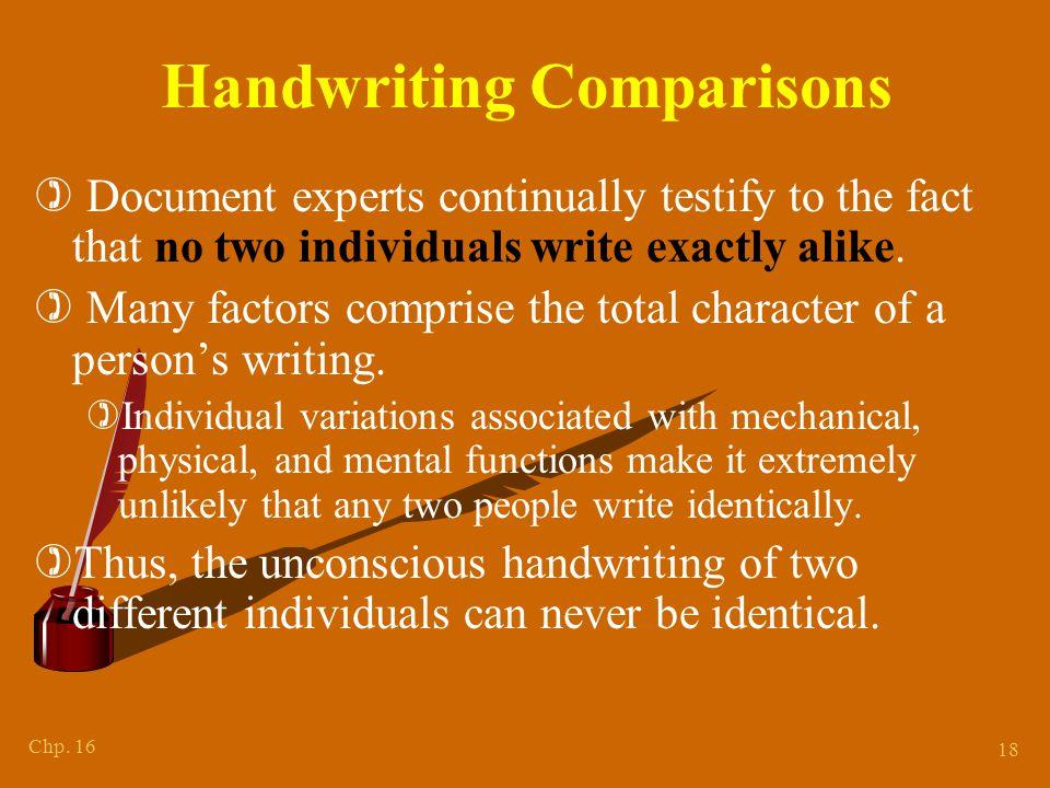 Variations in Handwriting Characteristics