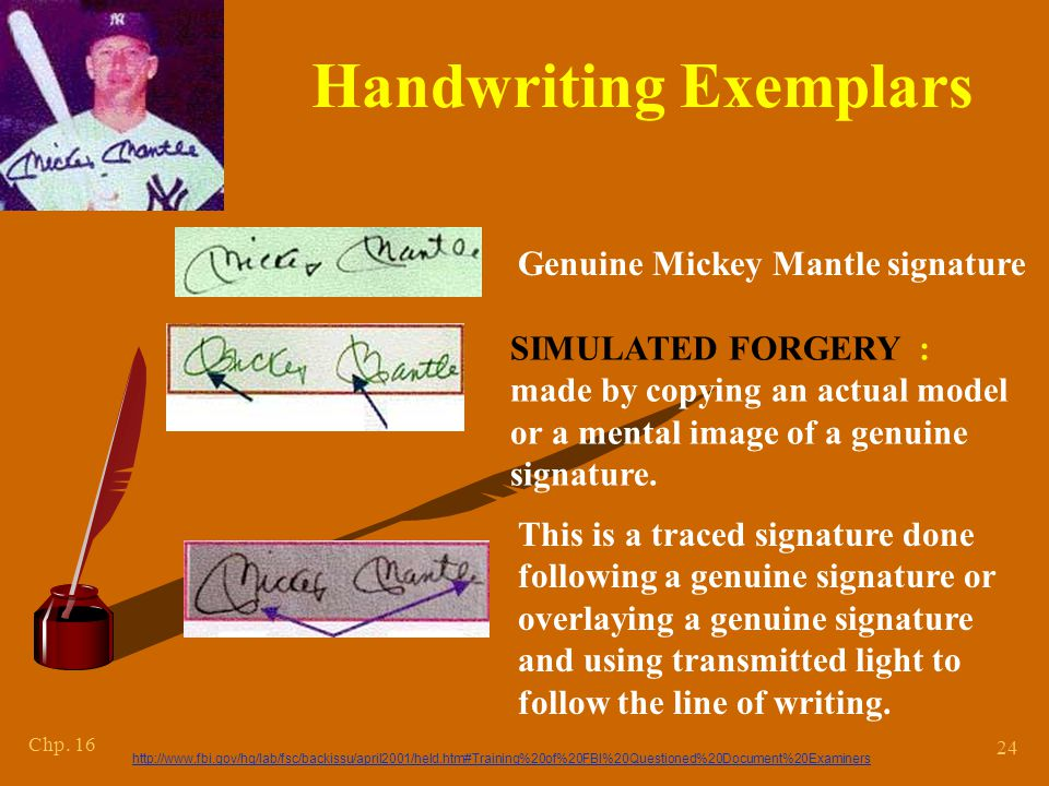Chapter 15 *Methods of Forgery. Simulated forgery : one made by copying a genuine signature.