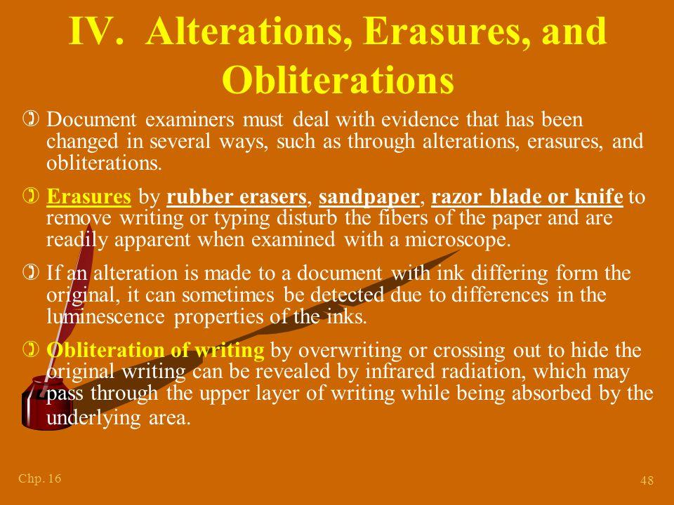 IV. Alterations, Erasures + Obliterations