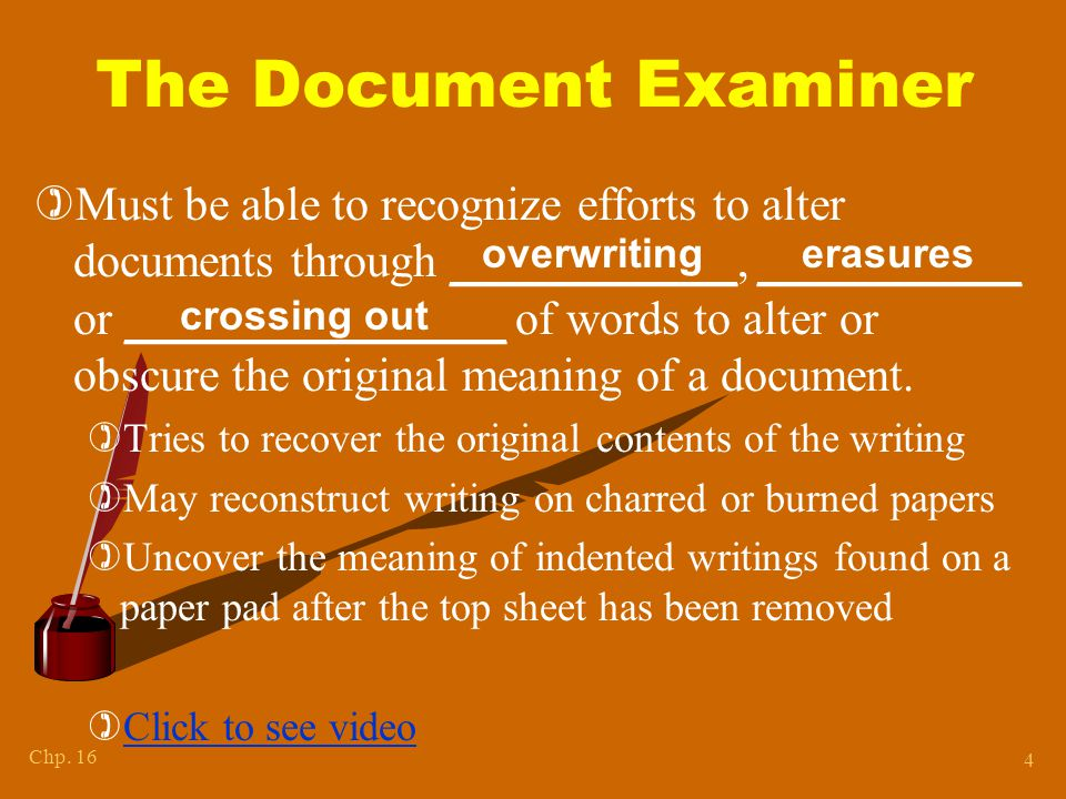 Chapter 15 The Document Examiner.