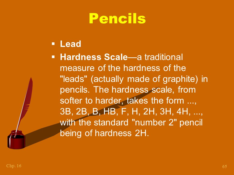 Chapter 15 PENCIL HARDNESS Kendall/Hunt