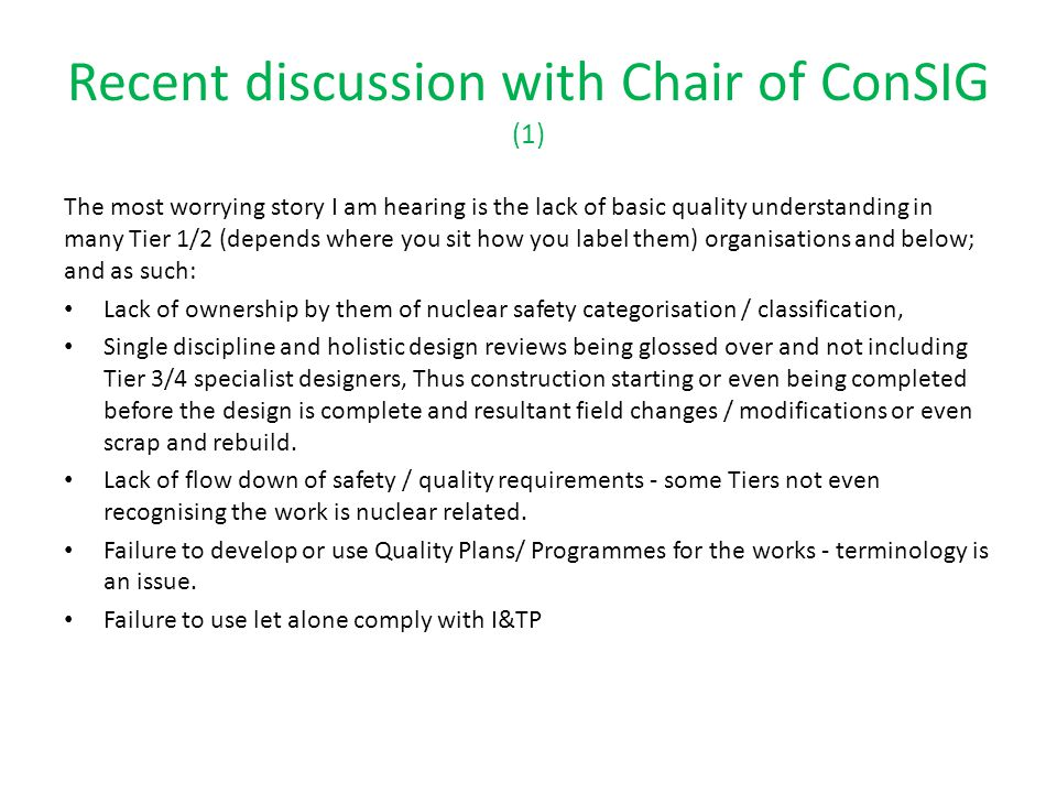 Recent discussion with Chair of ConSIG (1)