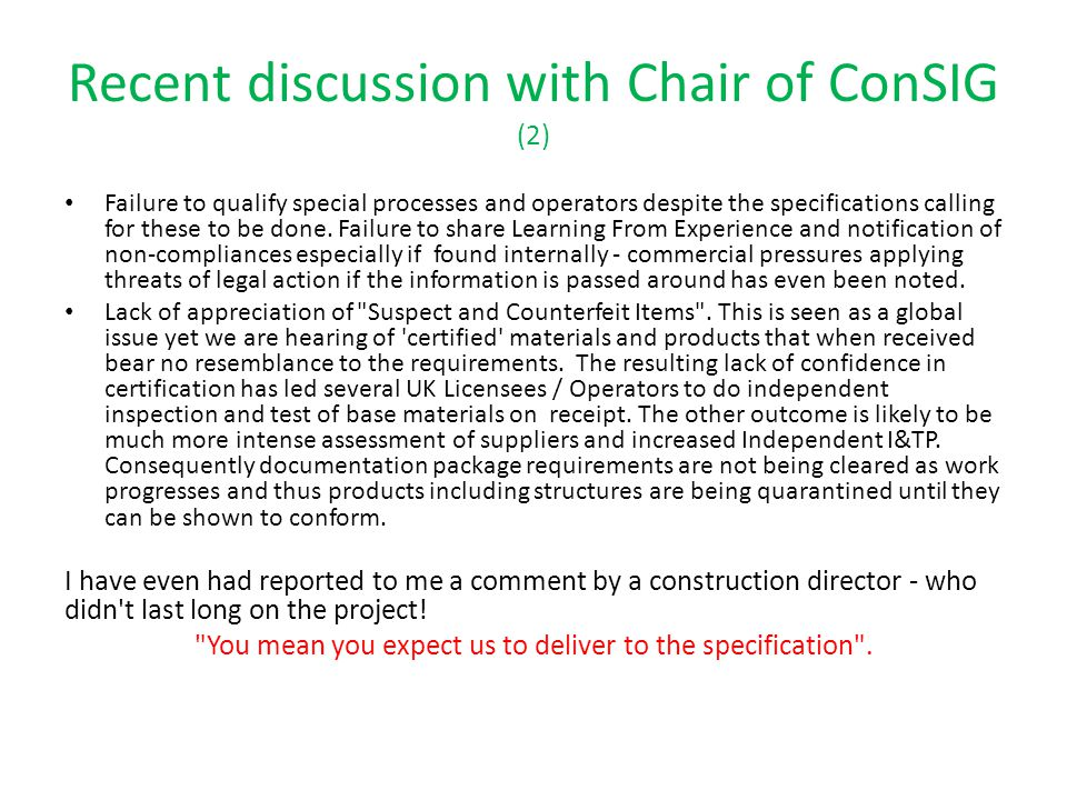 Recent discussion with Chair of ConSIG (2)