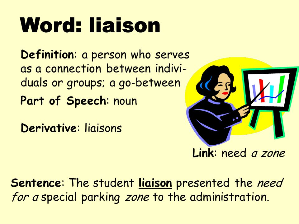 Word: Liaison Definition: A Person Who Serves