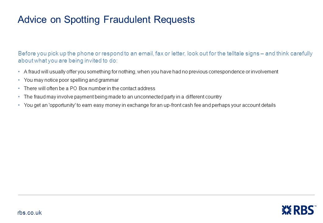 Advice on Spotting Fraudulent Requests
