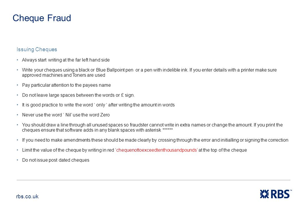 Cheque Fraud Issuing Cheques