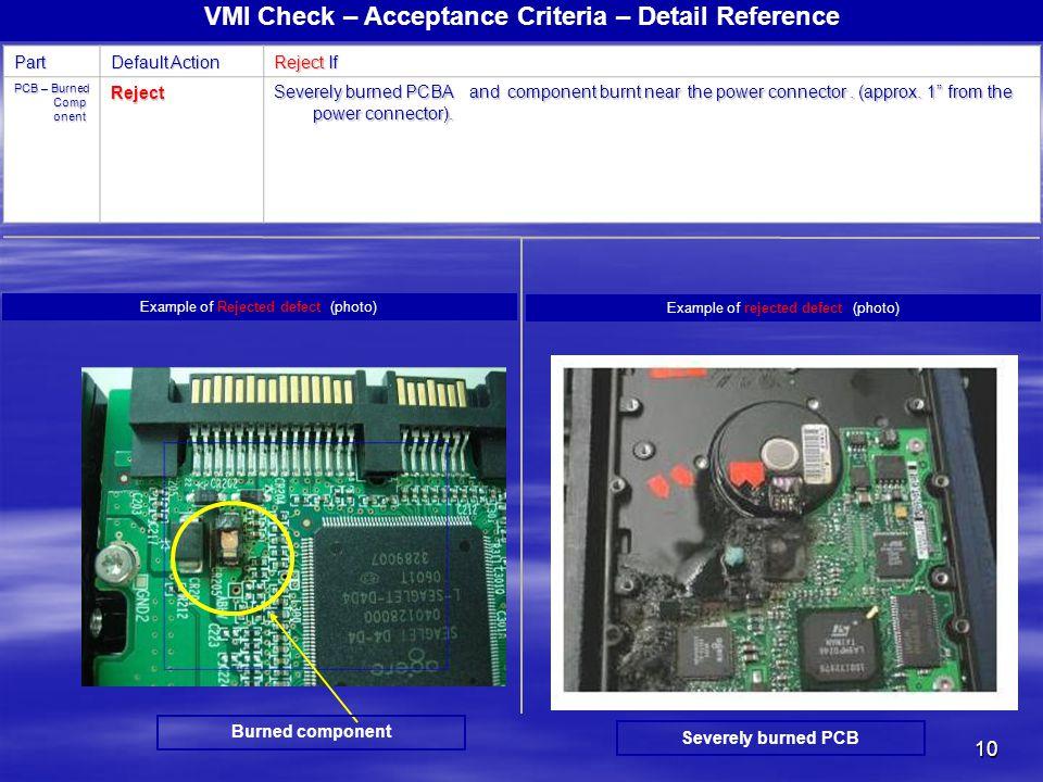 VMI Check – Acceptance Criteria – Detail Reference