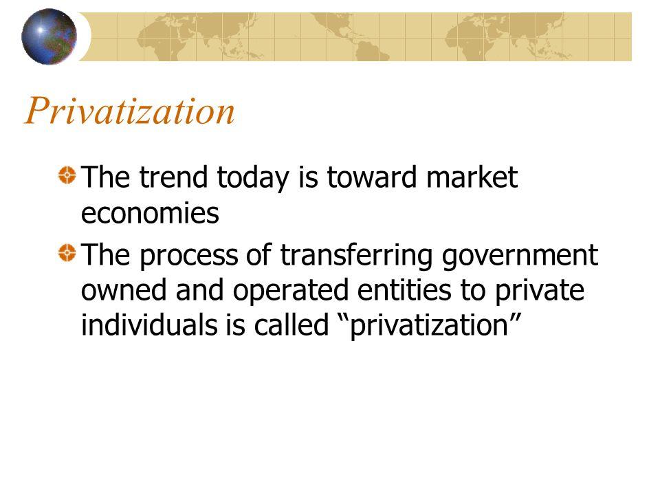 Privatization The trend today is toward market economies