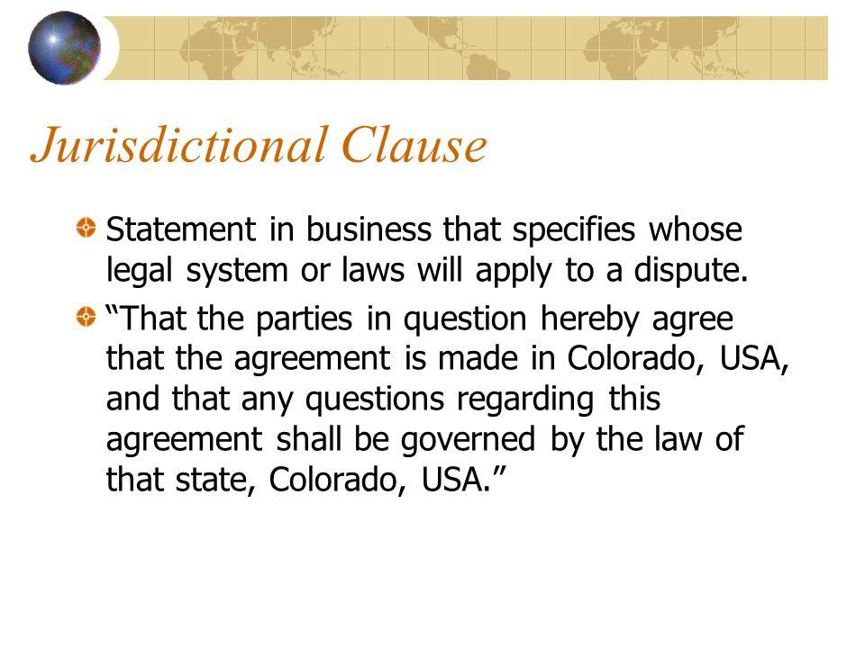Jurisdictional Clause
