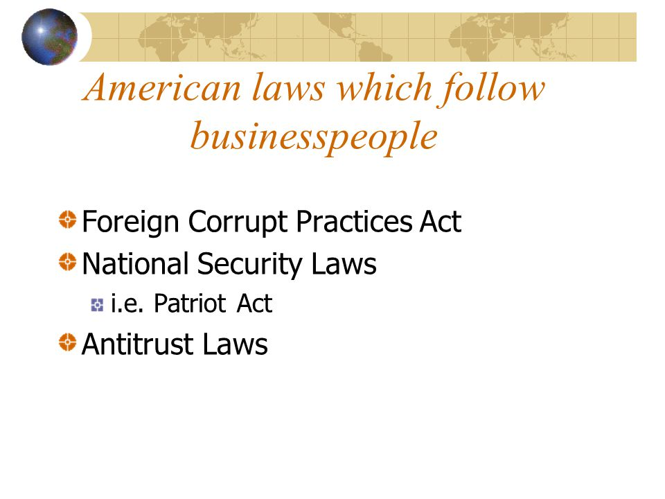 American laws which follow businesspeople