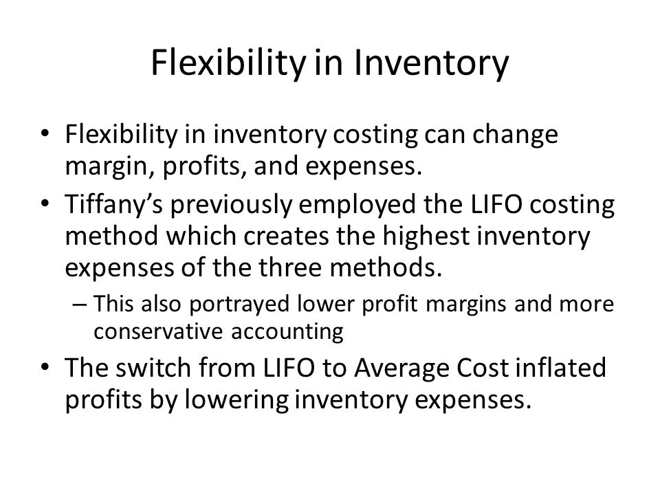 Flexibility in Inventory