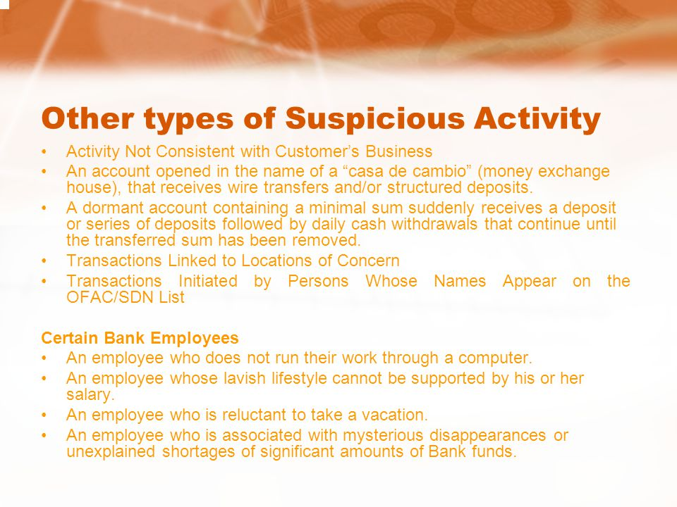 Other types of Suspicious Activity