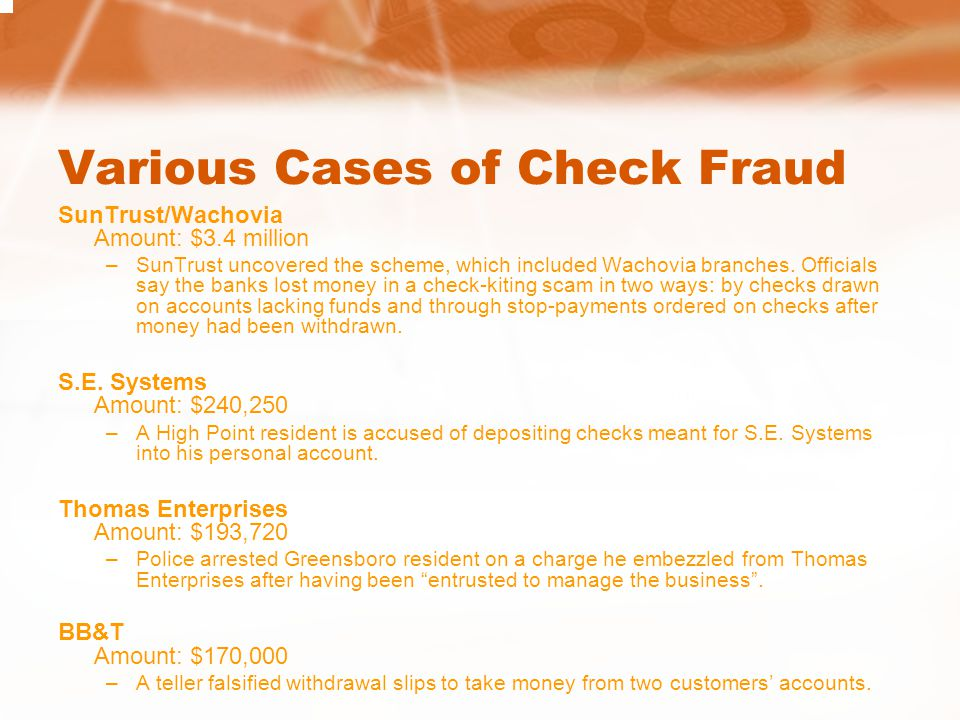 Various Cases of Check Fraud