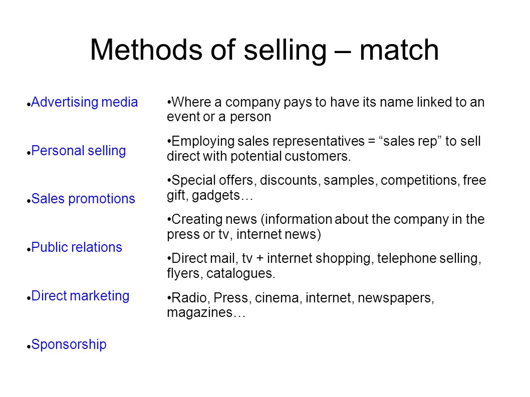 Methods of selling – match