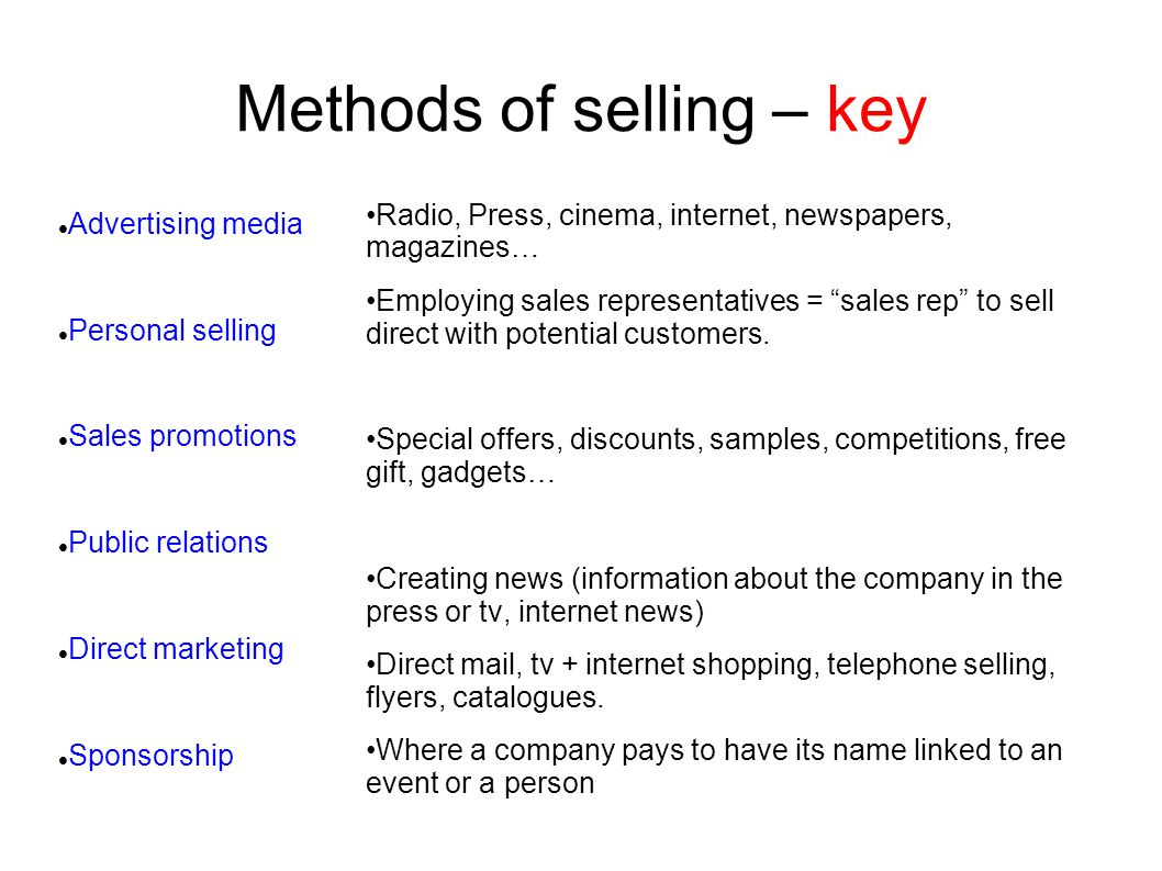 Methods of selling – key