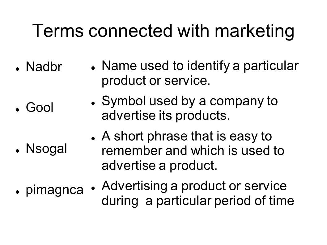 Terms connected with marketing