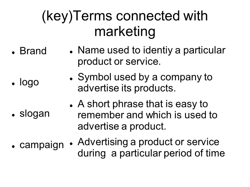 (key)Terms connected with marketing