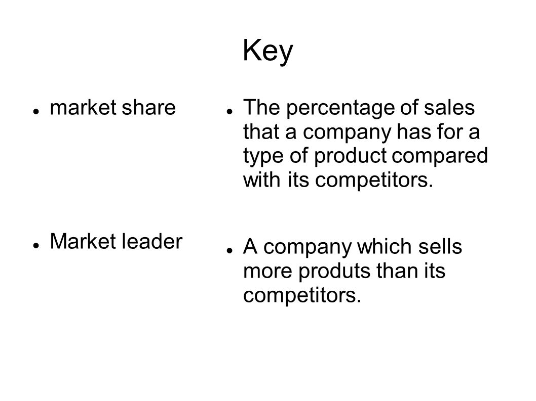 Key market share Market leader