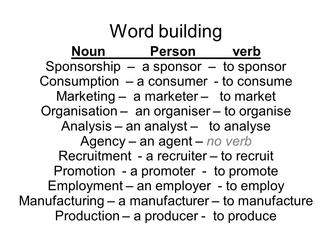 Word building Noun Person verb Sponsorship – a sponsor – to sponsor