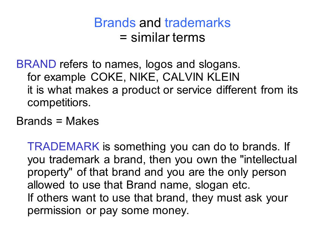 Brands and trademarks = similar terms