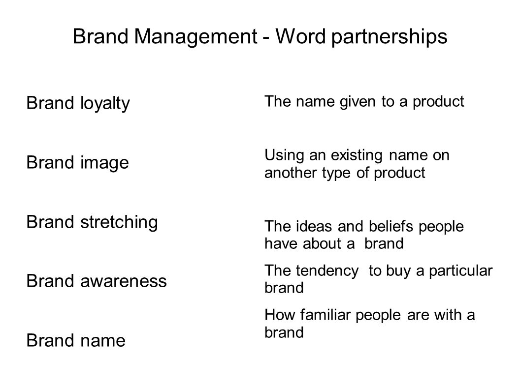 Brand Management - Word partnerships