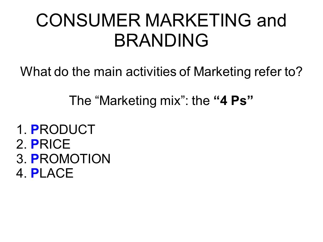 CONSUMER MARKETING and BRANDING