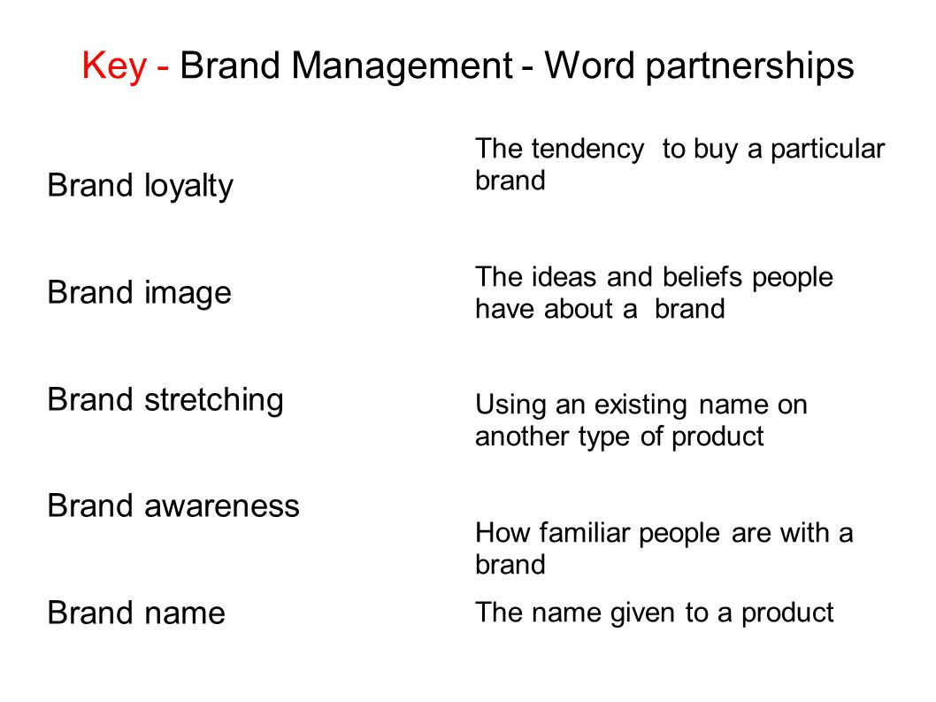 Key - Brand Management - Word partnerships