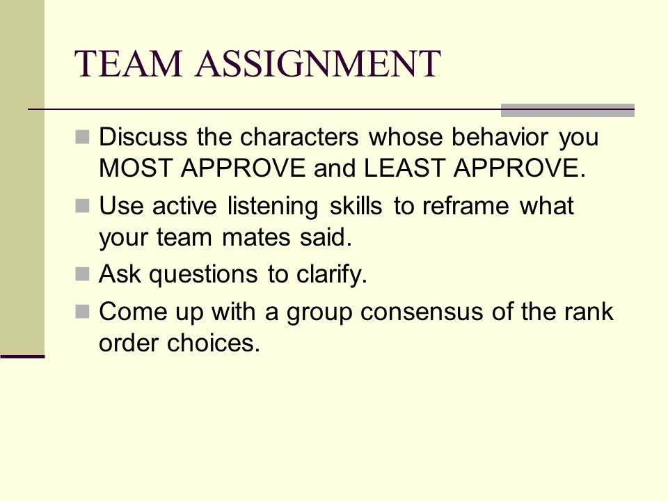 TEAM ASSIGNMENT Discuss the characters whose behavior you MOST APPROVE and LEAST APPROVE.