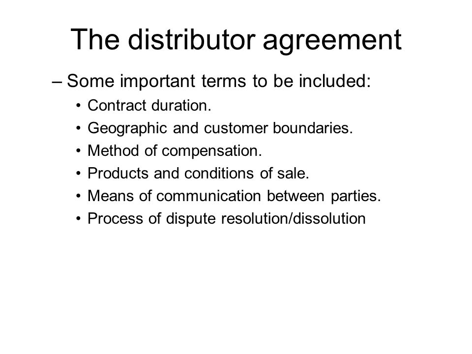 The distributor agreement