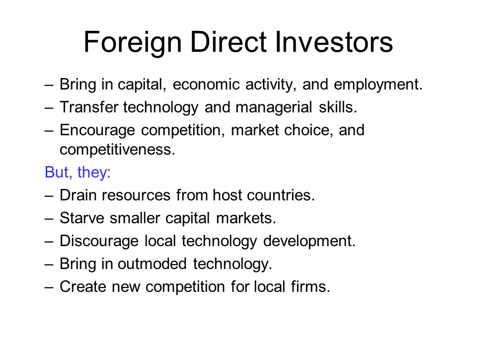 Foreign Direct Investors