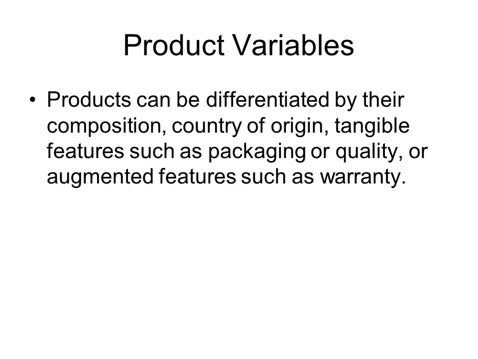 Product Variables