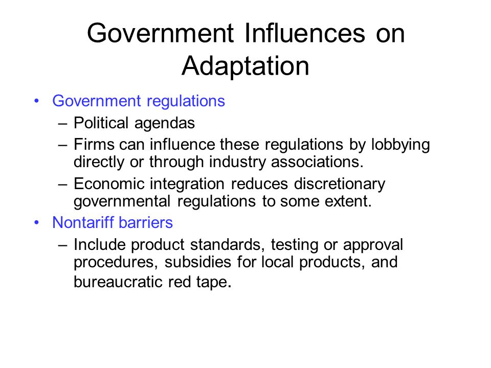 Government Influences on Adaptation