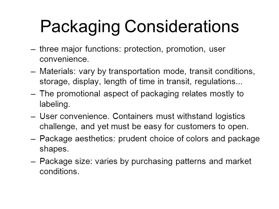 Packaging Considerations