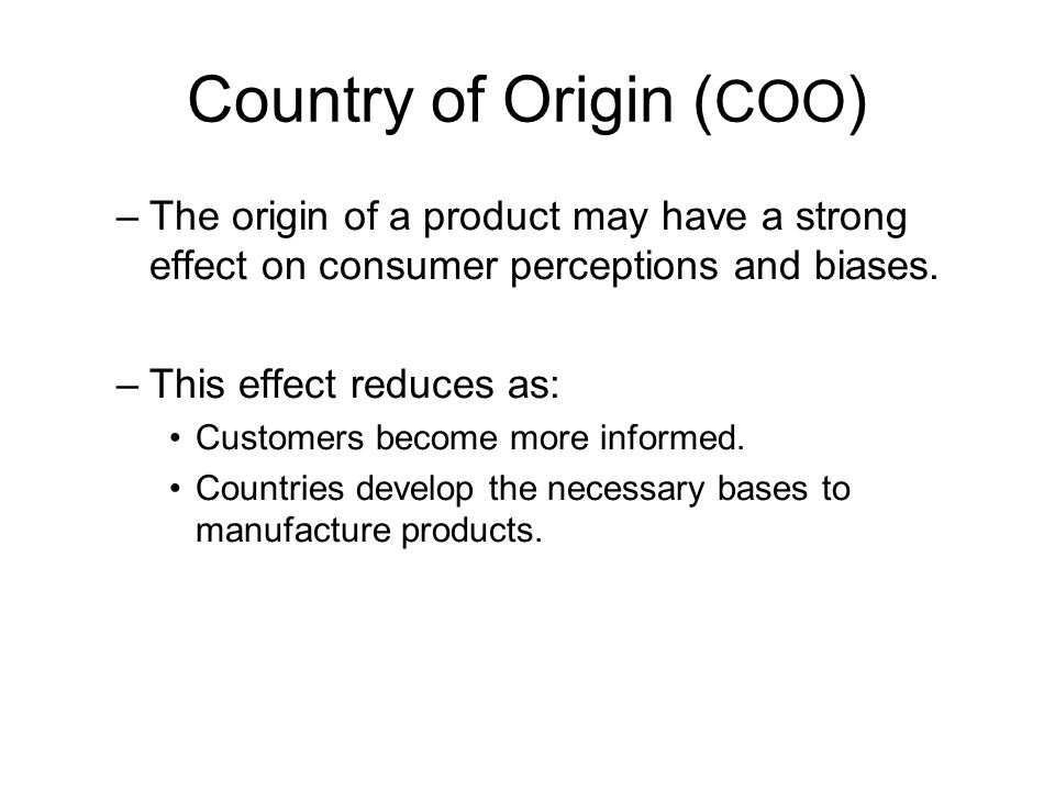 Country of Origin (COO)