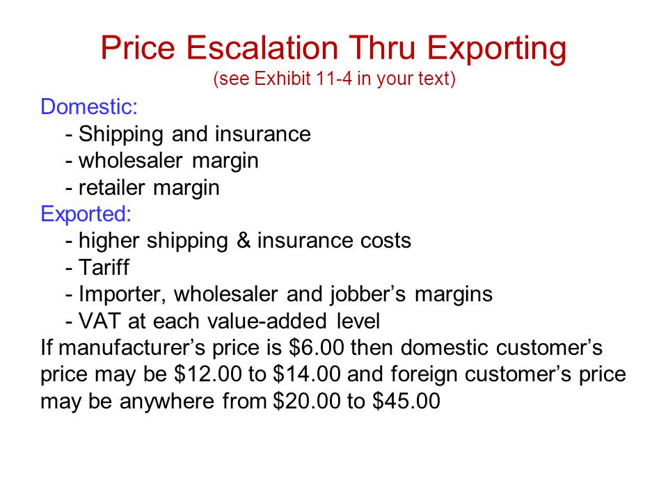Price Escalation Thru Exporting (see Exhibit 11-4 in your text)
