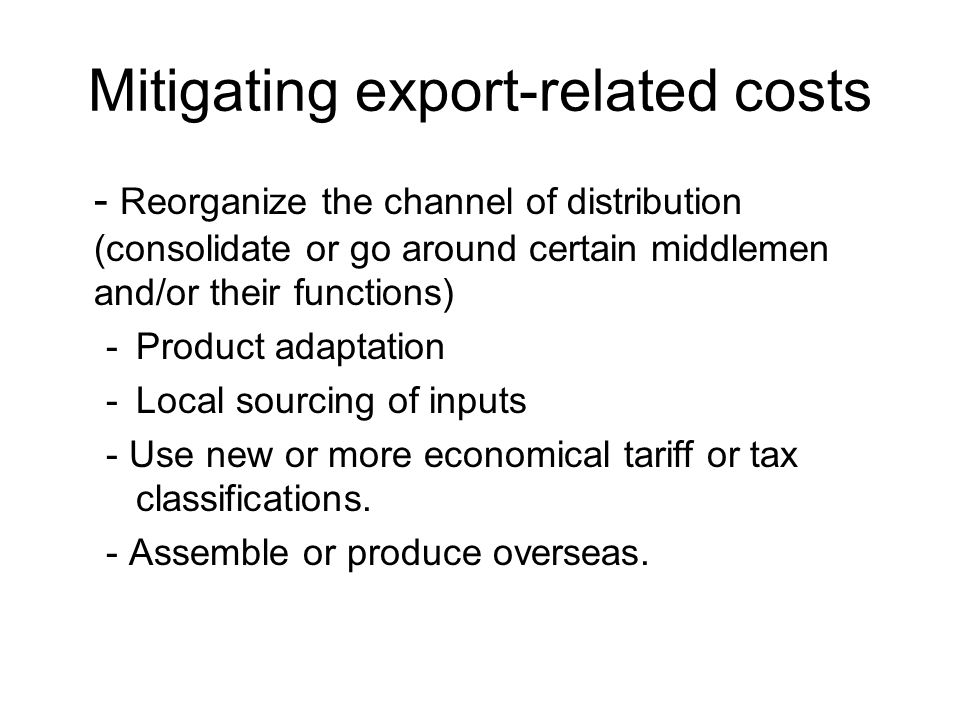 Mitigating export-related costs