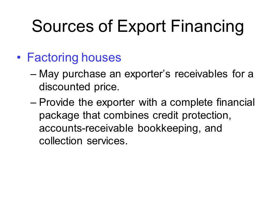 Sources of Export Financing