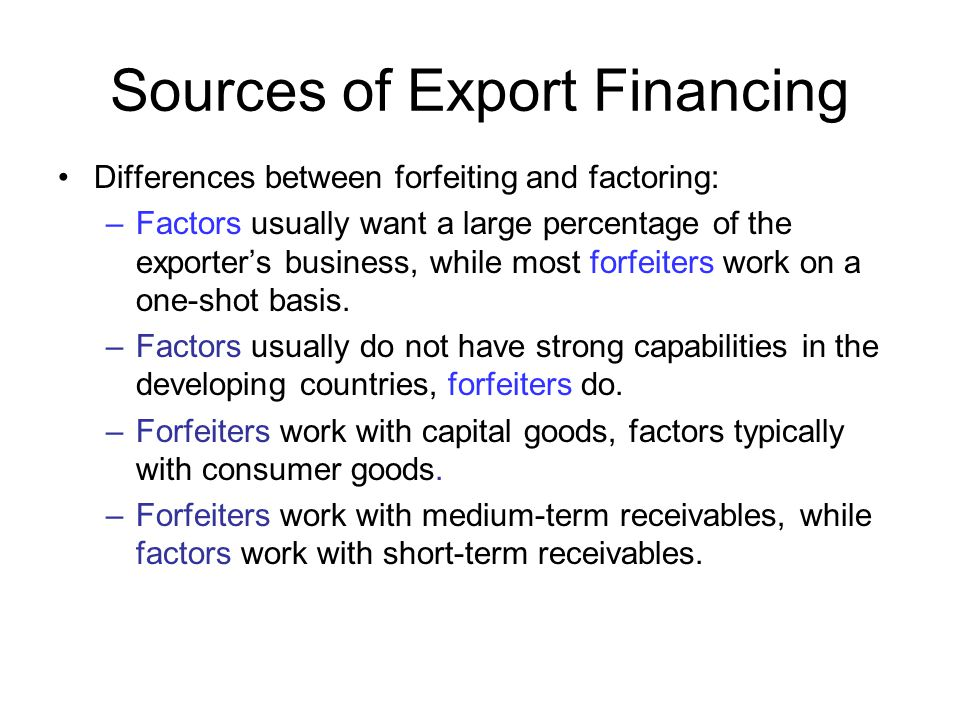 Sources of Export Financing
