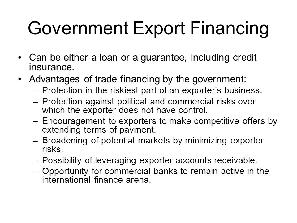Government Export Financing