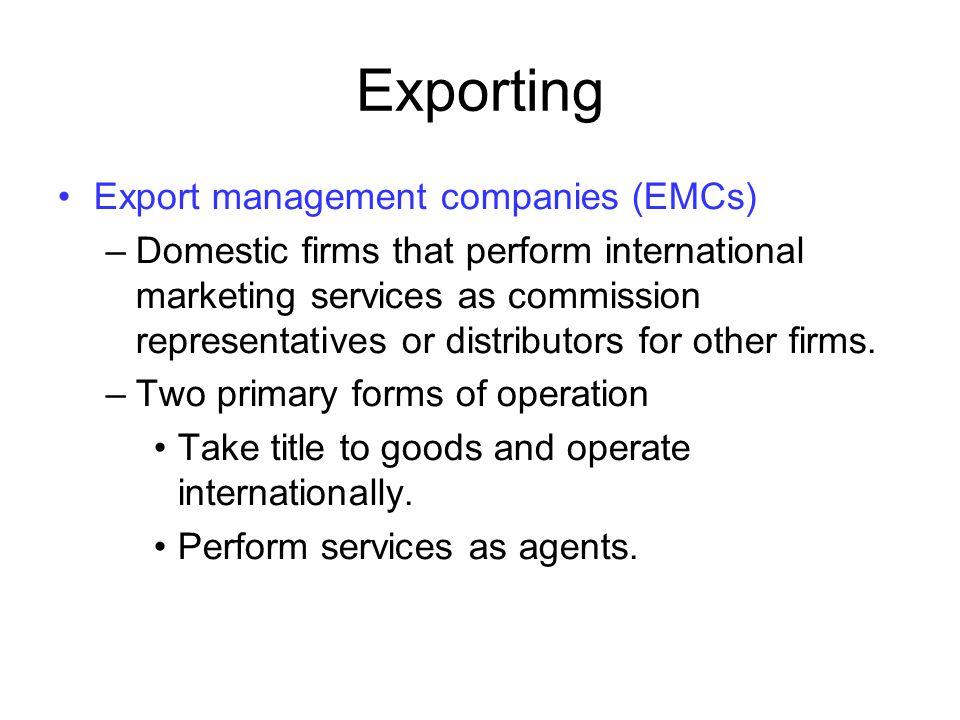 Exporting Export management companies (EMCs)