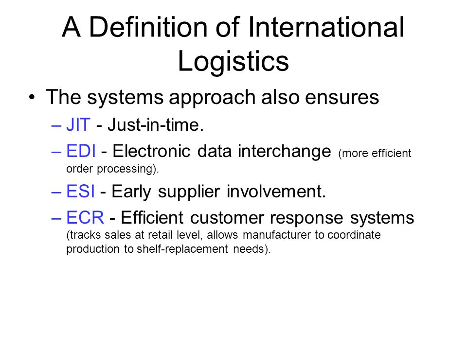 A Definition of International Logistics