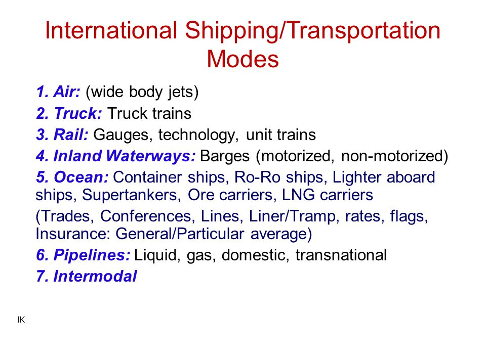 International Shipping/Transportation Modes