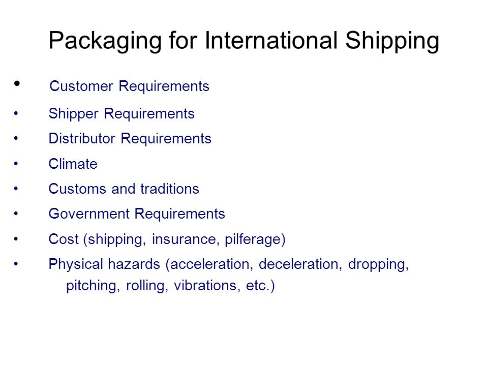 Packaging for International Shipping