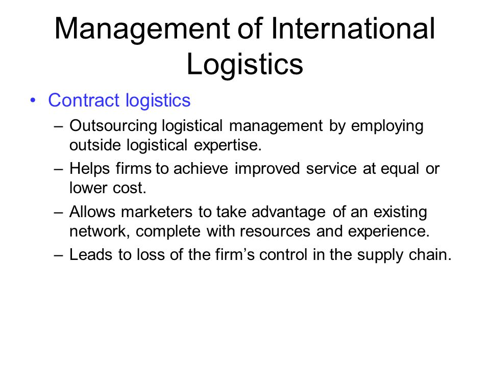 Management of International Logistics