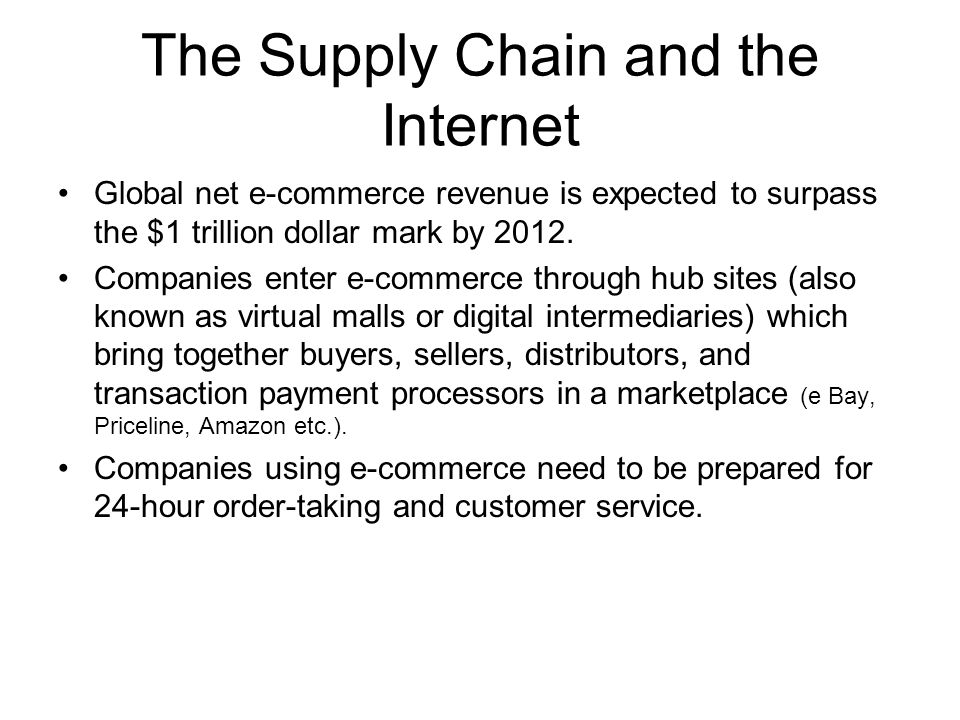 The Supply Chain and the Internet