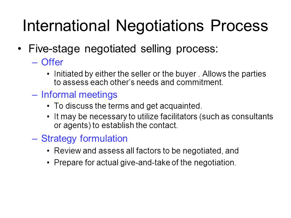 International Negotiations Process
