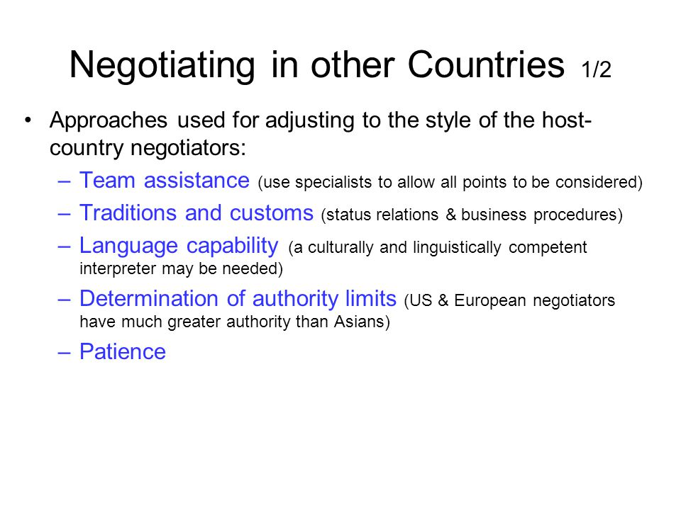 Negotiating in other Countries 1/2